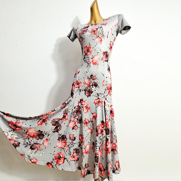 Grey and Red Floral Ballroom Practice/Summer Dress with Short Sleeves and Soft Hem Feature Shallow V Neck in Back Pra645