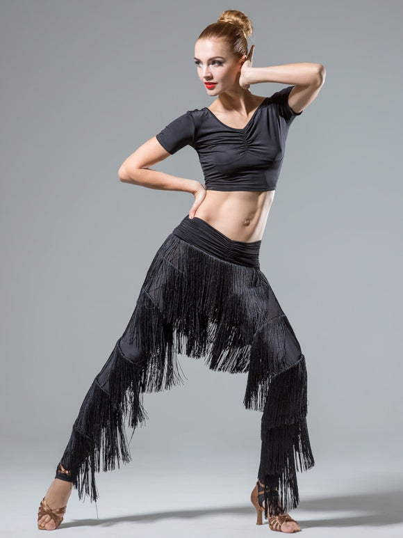 Ladies Fringe Latin And Rhythm Practice Or Competition Pants with Layers of Fringe and Stirrup Feet Sizes S-5XL Pra646