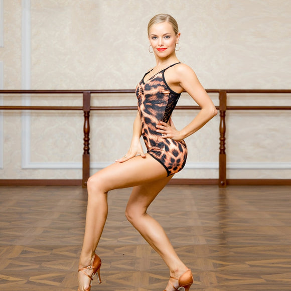 Leopard Print Ballroom Or Latin Practice Top Bodysuit with Stretch Lace Detail. Also Available in All Black. Pra652