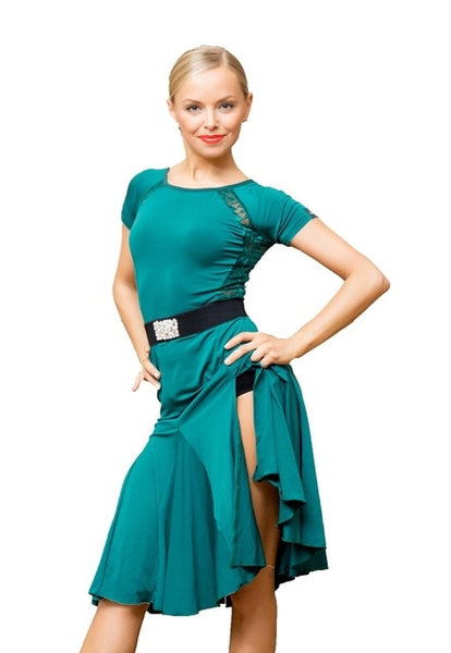 Green Latin Practice Dress with Stretch Lace Back and Accents. Features Short Sleeves and Side Slit in Skirt Pra653_in