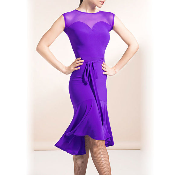 Classy Crepe Latin Practice Dress with Belt Tie and Mesh Shoulders. Available in Purple and Black Pra662