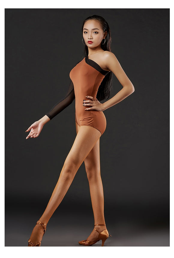 Single Mesh Sleeve Latin Body Suit with Border.  Available in Brown or All Black Pra654