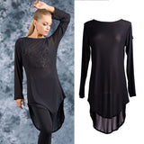 Sexy Long Lose Mesh Top for Ballroom or Latin with Long Sleeves and Open Back Detail Pra656
