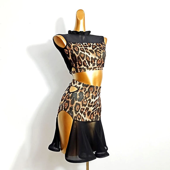 Brown Leopard Print Latin Top and Skirt Set with Black Mesh and Wrapped Horsehair Hem Pra661