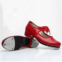 Merida Girls Patent Leather Lace Tie Tap Shoes with Half Inch Heel.  Available in Black, Red and White