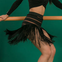 Sexy Fringe Latin Practice Skirt with Mesh Lines and Nude Lining. Available in S-XL Pra669
