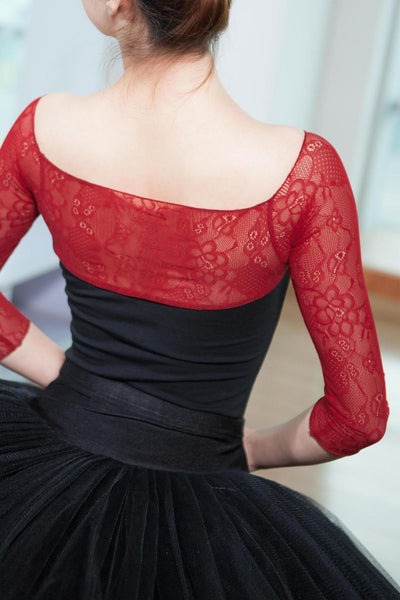 Brenna Ladies Ballet Leotard Dance Leotard with Lace Top and Long Lace Sleeves.  Available in All Black or Red and Black