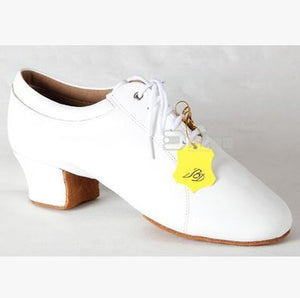 White Leather, Black Leather or Black Canvas BD Brand Men's Latin Dance Shoes with 1.8 inch Cuban Heel and Soft Sole