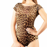 Short Sleeve Leopard Print or Black Bodysuit Latin Ballroom Practice Top Available in Sizes S-3XL Pra241