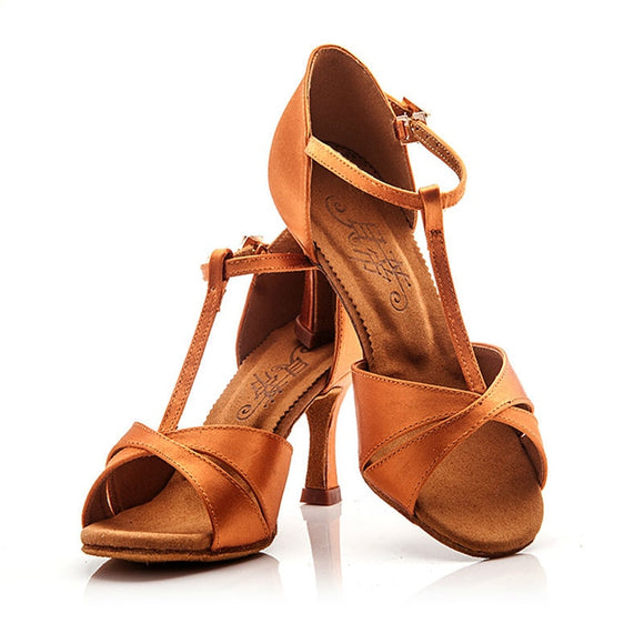 BD T-Strap Latin or Rhythm Dance Shoes with Slip Buckle Closure Available in Dark Tan or Black BD 2358