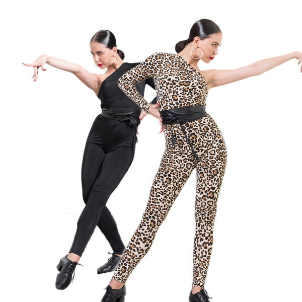 One-Piece Black or Leopard Cat Suit with One long Sleeve and Asymmetrical Neckline. Comes with Leatherette Belt Sizes XS to Large Pra152