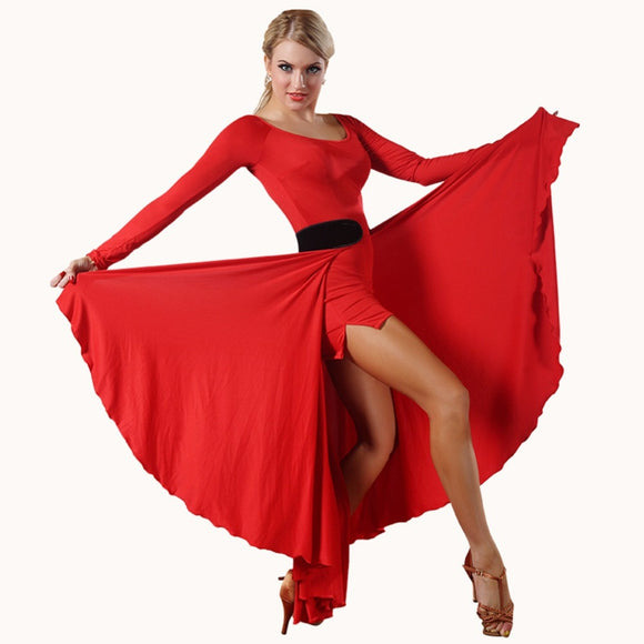 Long Paso Doble or Tango Top and Skirt with Open Front.   Features long Sleeves and Soft Hem Available in 3 Colors and Sizes S-XL Pra289
