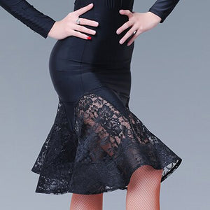 Short Black Latin Skirt with Lace Panesl and Wrapped Horsehair.  Available in S-XXL Pra381