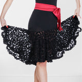 Black Rhythm or Latin Practice Skirt with See Through Lace Sizes M-XXL Pra019