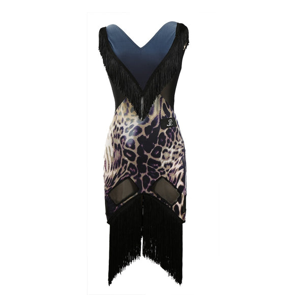 Fringe and Animal Print Latin Practice or Performance Dress. Sleeveless with Mesh Inserts. Blue or Green S-XL Pra166
