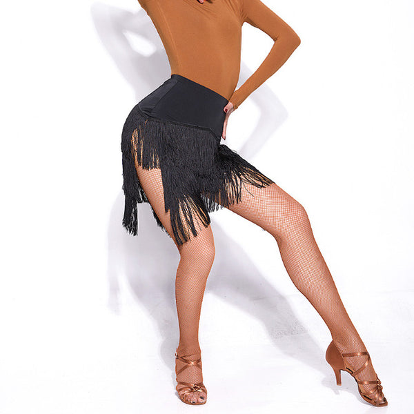 Nude, Leopard or Black Short Latin Practice Skirt with Layers of Fringe and Two-Sided Opening.  Available in 3 Colors and Sizes S-XXL Pra232