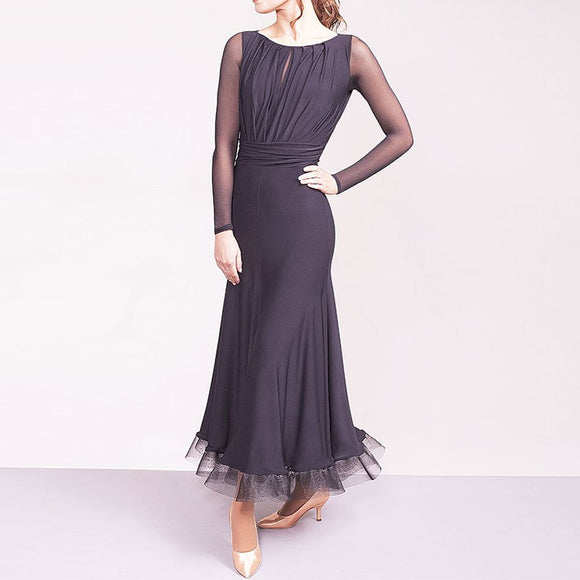 Long Black Ballroom Practice Dress with Gathered Top and Keyhole. Long Mesh Sleeves and Horsehair Hem Sizes S-XXL Pra057