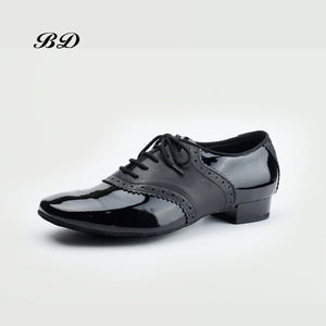 BD Men's Ballroom Dance Shoes with Patent Leather and Soft Leather in Saddle Shoe Style with Short 1 inch Heel BD 315