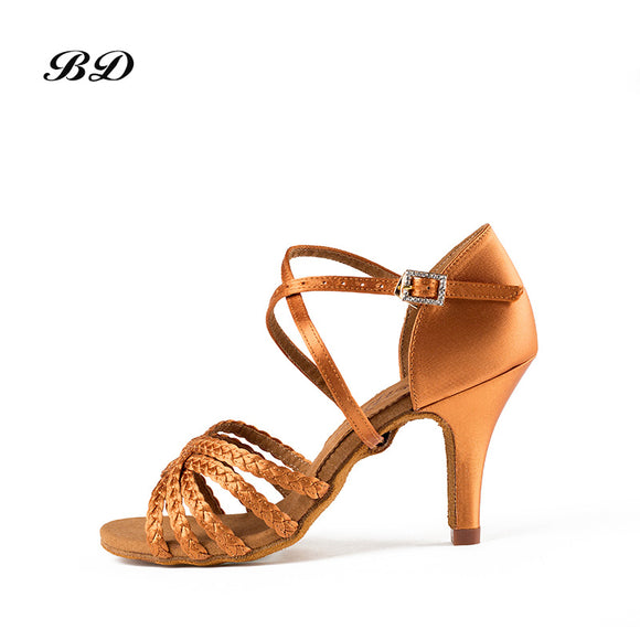 BD Brand Latin Dance Shooes with Braided Straps and Tapered Heel.  Multiple Heel Options available