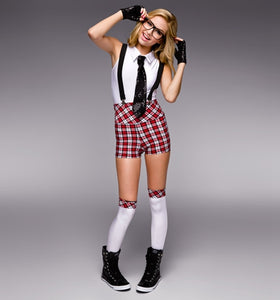 Belinda Hip Hop Red Plaid Preppy School Girl Costume with Suspenders, Tie Glasses, Gloves and Stockings
