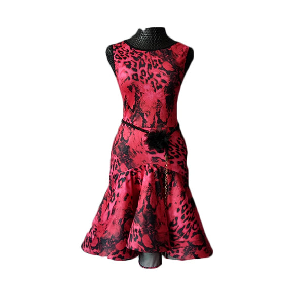 Red Leopard Print Short Latin Dress with Wrapped Horsehair and Belt Pra123