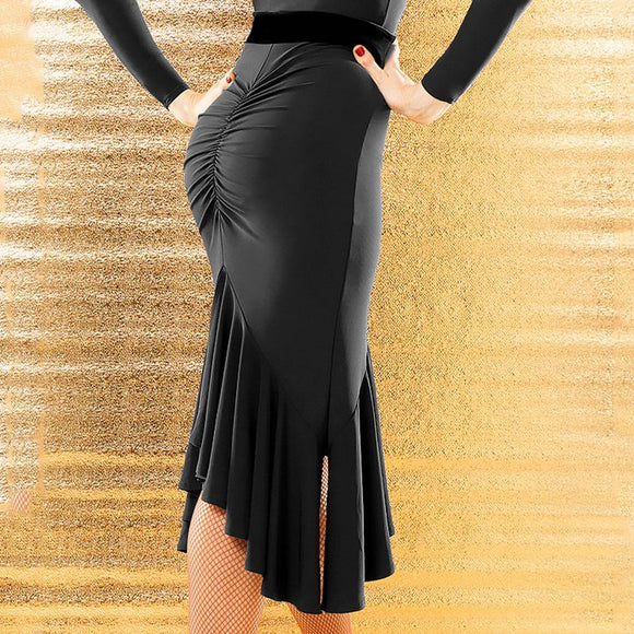 Latin Practice Skirt with Rouching, Ruffled Skirt, and Smooth Velvet Waistband. Strategic Slits Create Maximum Movement Pra644