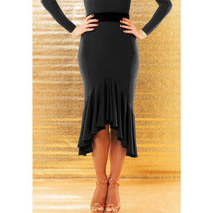 Sexy Latin Practice Skirt with Rouching and Ruffled Skirt.  Strategic Slits Create Maximum Movement. Features Soft Velvet Waistband for Smooth Silhouette Pra644