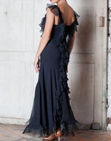 Long Ballroom Practice Dress With Cascading Ruffles Down Length of Back and Top of Front. Available in Sizes S-3XL Pra256