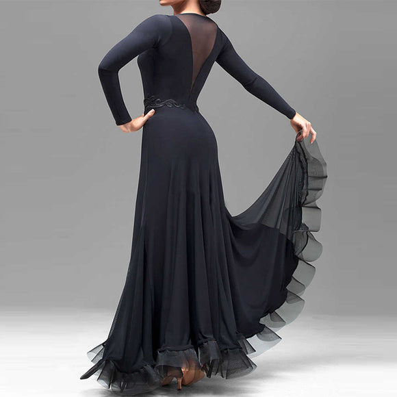 Classic Black Long Ballroom Practice Dress with Mesh Insert and Lace Waist Detail. Sizes S-3XL Pra056