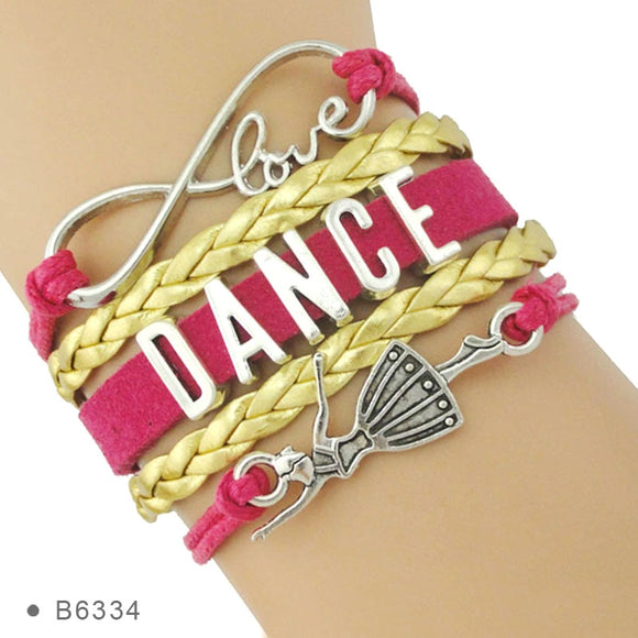 Mary Braided Love Dance Bracelet with Ballerina or Infinity Charms.  Available in 28 Color Options and White or Yellow Gold
