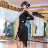 Latin Practice Dress with Long Sleeves with Asymmetrical Skirt Pra130