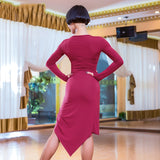 Latin Practice Dance Dress Long Sleeve with Asymmetrical Skirt