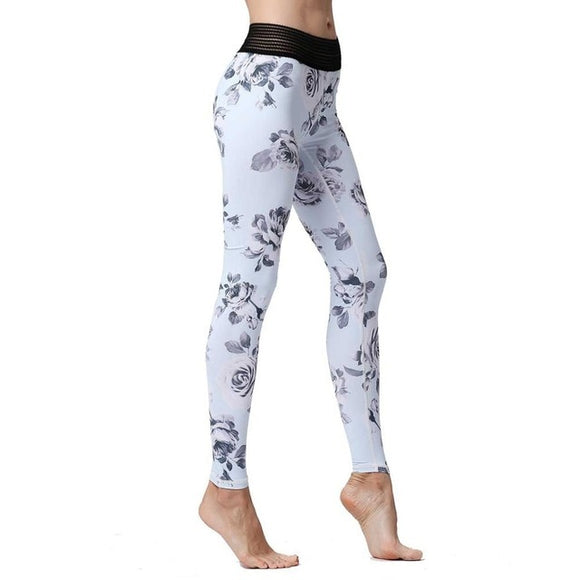 Aria White Floral or Blue Floral Leggings with Striped Elastic High Waist.  Available in 2 Colors and Sizes S-XL