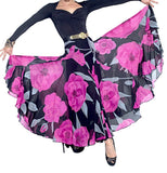Long Floral Ballroom  Practice Skirt with 2 Layers and Soft Hem. Sizes S-4XL Pra005