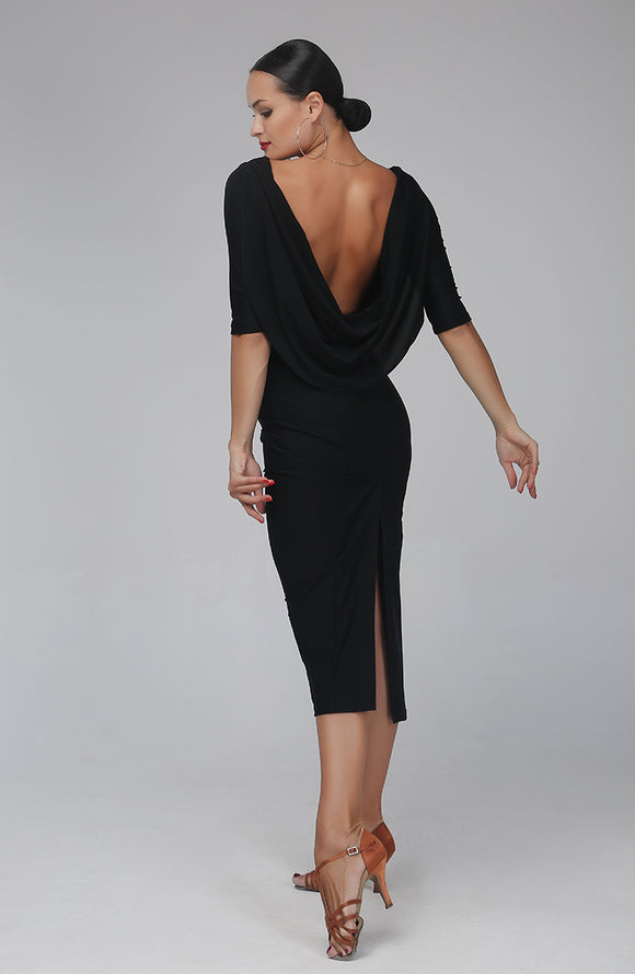 Black Latin Practice/Performance Dress with Back Sash and Half Sleeves. Available in Sizes S-XL Pra122_in
