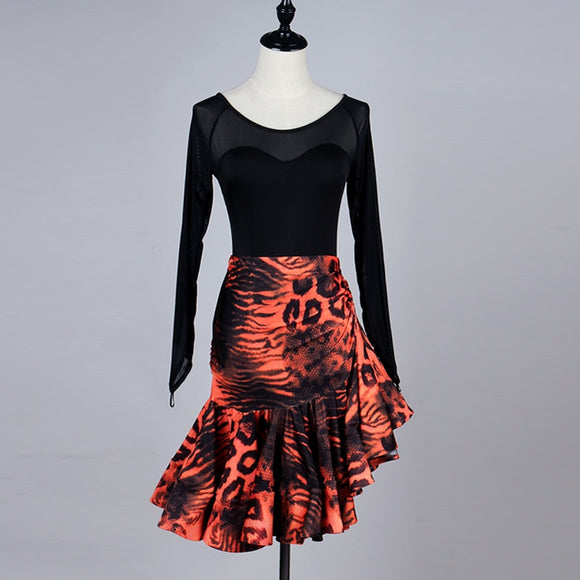Lady's Latin Skirt and Top Set with Leopard Print Latin Skirt and Solid Black Top with Mesh Long Sleeves Sizes S-XXL Pra149