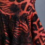 Leopard and Snake Skin Print Latin Skirt and Solid Black Top with Mesh Long Sleeves Sizes M and XL Pra149_in