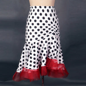 Adult White Skirt with Black Polka Dots and Red Horsehair Hem sz S-XXL Pra026