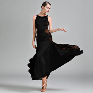 Long Ballroom Practice Dress with Sporty Floral Lace Side Panels Available in two Colors and Sizes S-XXL Pra080