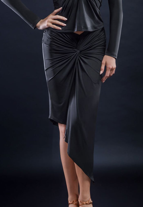 Sleek Latin Practice Skirt with Center Gather and Asymmetrical Hem Available in 5 Colors and Sizes S-3XL Pra314