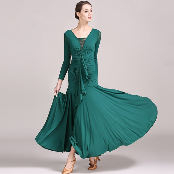Long Crepe Ballroom Practice Dress With Flutter Sash and Lace Accent in Neckline Available in 3 Colors and Sizes S-XXL Pra087