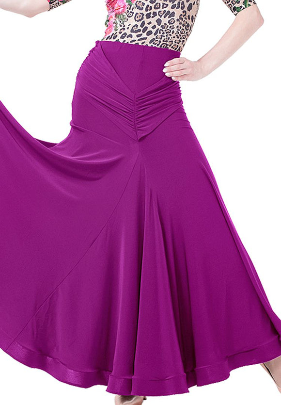 Long Ballroom Practice Skirt with wrapped Horsehair Hem and Rouched Waist Detail.  Available in 3 Colors and Sizes S-XXL Pra010