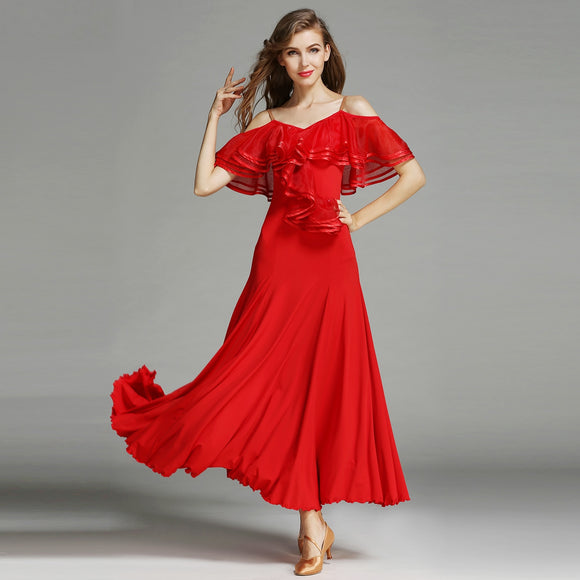 Long Ballroom Practice Dress with Ruffle Sash and Ribbon Detail. Features a Soft Hem and Off The Shoulder Style. Available in 3 Colors and Sizes S-XXL Pra322