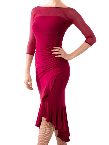 One-Piece Latin Ruffle Wrap Dress with Asymmetrical Skirt and 3/4 Mesh Sleeves 5 Colors and Sizes S-3XL Pra112