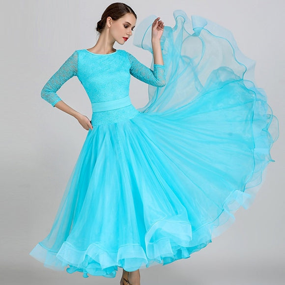 Shorter Length Ballroom Standard Practice Dress with 3/4 Sleeves and Belt. Available in 3 Colors and Sizes S-XXL Pra270_in