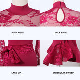 Lace Latin/Rhythm Skirt and Top Set with Matching Accent Belt. Available in Red or Green and Sizes S-XXL Pra146