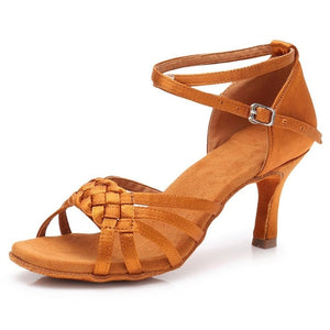 Braided Satin Latin/Rhythm Open Toe Dance Shoes with Straps