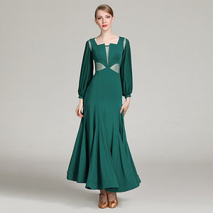 Long Full Sleeve Ballroom Practice Dress With Geometric Cut outs and Wrapped Horsehair Hem.  Available in Green or Red and sizes S-XXL Pra068