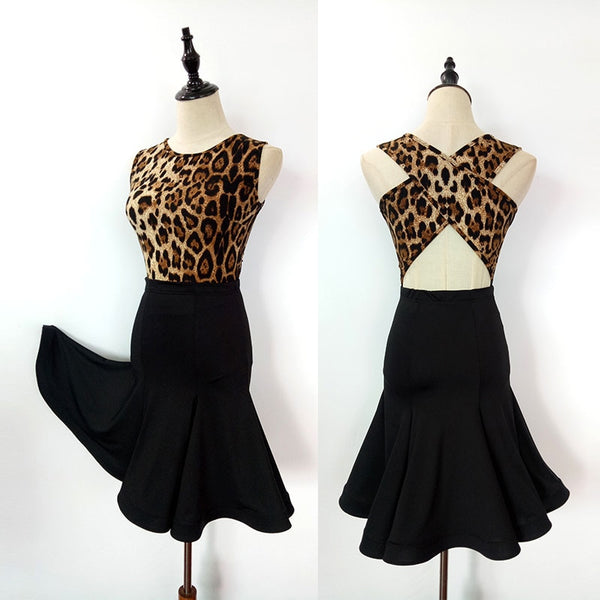 Leopard and Zebra Print Top and Black Latin Practice Skirt with Cross Back Detail and Round Neck Pra148