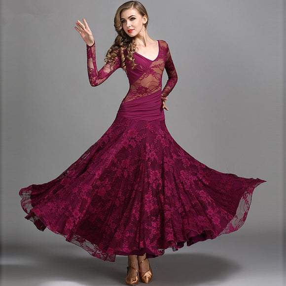 Lace Ballroom Dress with Wrapped Rouched Sashes and Long Sleeves Available in 3 colors and sizes S-XXL Pra171